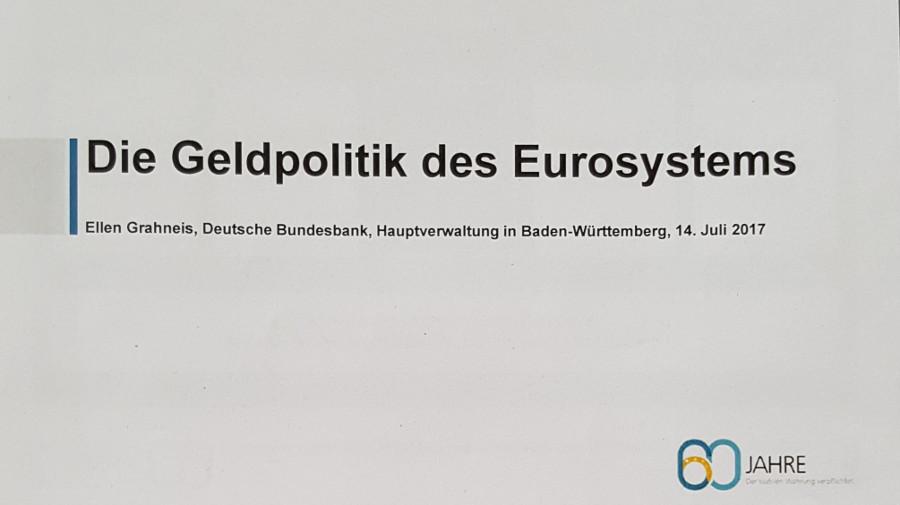 WG Fachvortrag durch Frau Grahneis von der Deutschen Bundesbank